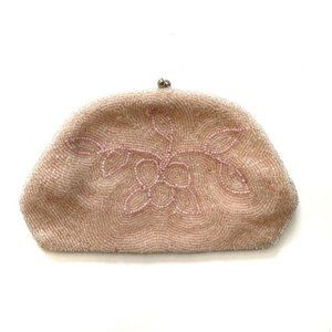 Vintage Walborg pink beaded clutch or coin purse